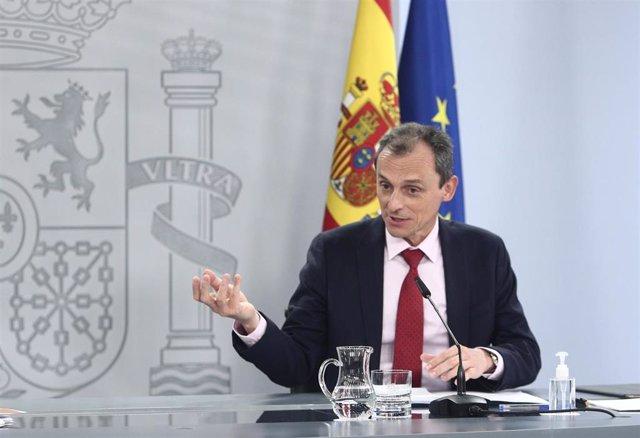 El ministro de Ciencia e Innovación, Pedro Duque, durante una rueda de prensa posterior al Consejo de Ministros