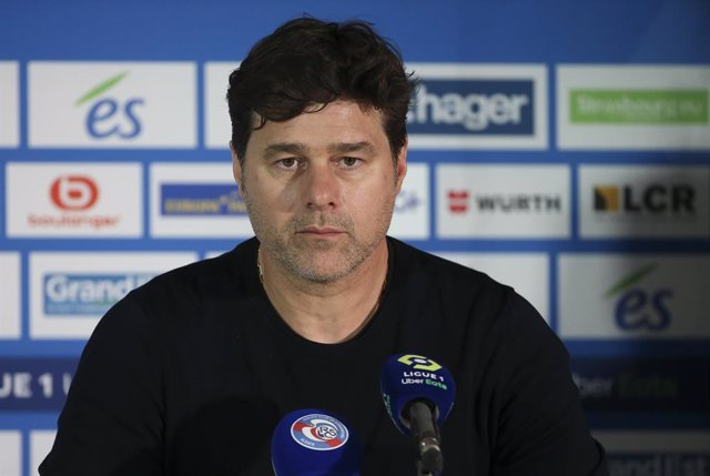 Coach of PSG Mauricio Pochettino answers to the media during the post-match press conference following the French championship Ligue 1 football match between RC Strasbourg Alsace (RCSA) and Paris Saint-Germain (PSG) on April 10, 2021 at La Meinau stadium