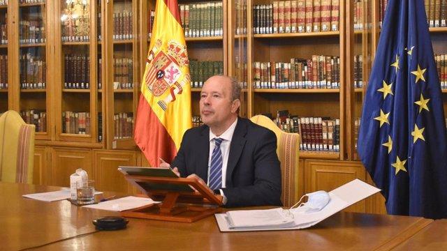 El ministro de Justicia, Juan Carlos Campo, presenta las líneas generales del Anteproyecto de la Ley de Enjuiciamiento Criminal (LECrim) a los miembros del Pleno de la Real Academia de Jurisprudencia y Legislación de España.
