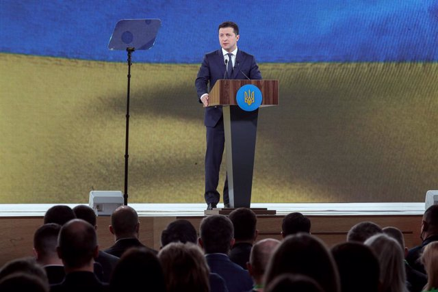 13 March 2021, Ukraine, Kiev: ukrainian President Volodymyr Zelensky speaks during the convention of the Servant of the People party at the Parkovy Kiev International Convention Center. Photo: -/Ukrinform/dpa