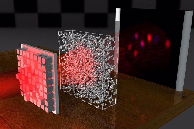 El haz de luz atraviesa un medio desordenado y proyecta la misma imagen en el detector que se detectaría sin el medio.