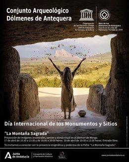 Cartel La Montaña Sagrada para celebrar el Día de los Monumentos y Sitios con actividades en Los Dólmenes de Antequera