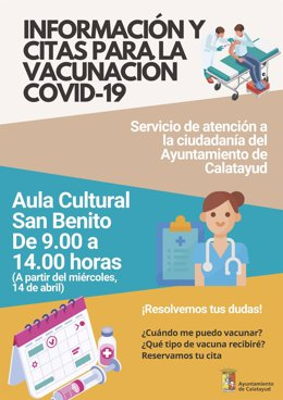 El Ayuntamiento de Calatayud abre una oficina de información y cita previa para la vacunación contra la COVID-19.