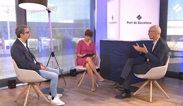 El responsable d'Estratègia del Port de Barcelona, Jordi Torrent, i el responsable de Projectes de la infraestructura, Carles Rúa.