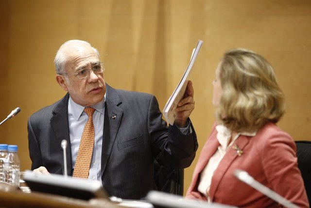 Archivo - Rueda de prensa en Madrid del secretario general de la OCDE, Ángel Gurría, y la ministra de Economía, Nadia Calviño, para presentar el nuevo estudio económico de la OCDE sobre España