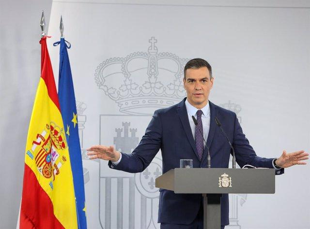 El president del Govern espanyol, Pedro Sánchez, en una roda de premsa després del Consell de Ministres a La Moncloa. Madrid (Espanya) 13 d'abril del 2021.