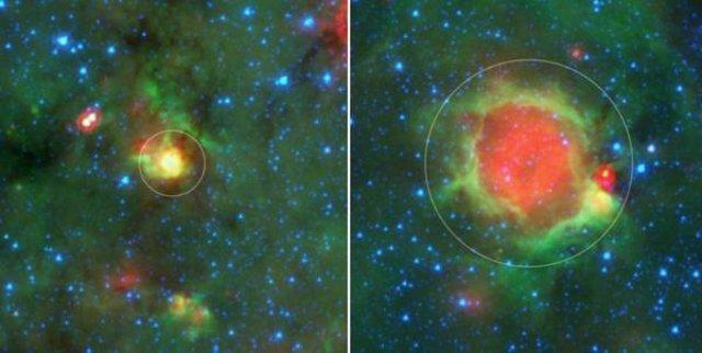 Un ejemplo de una bola amarilla (a la izquierda, en un círculo) y una burbuja (a la derecha, en un círculo) como se ve en las imágenes infrarrojas del Telescopio Espacial Spitzer de la NASA.