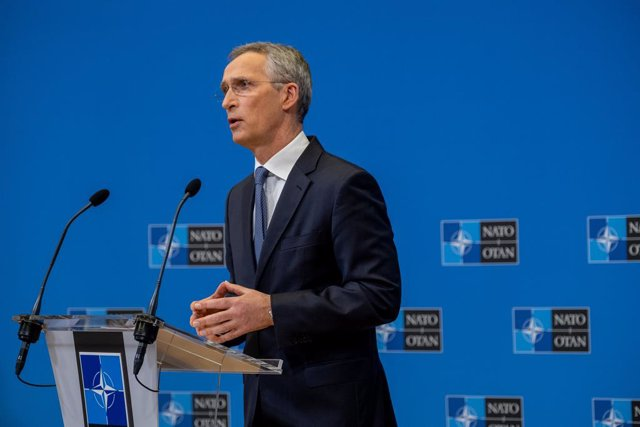 HANDOUT - 24 March 2021, Belgium, Brussels: NATO Secretary General Jens Stoltenberg holds a press conference following the NATO Foreign Affairs Ministers' meetings. Photo: F.Garrido-Ramirez/NATO/dpa - ATTENTION: editorial use only and only if the credit m