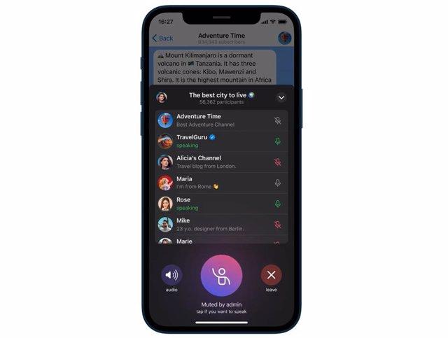 Chats de voz en canales de Telegram.