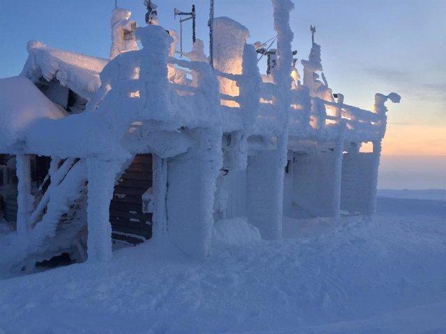 Estación de observación del Instituto Meteorológico de Finlandia utilizada en el estudio, Parque Nacional Pallas, Finlandia ártica.