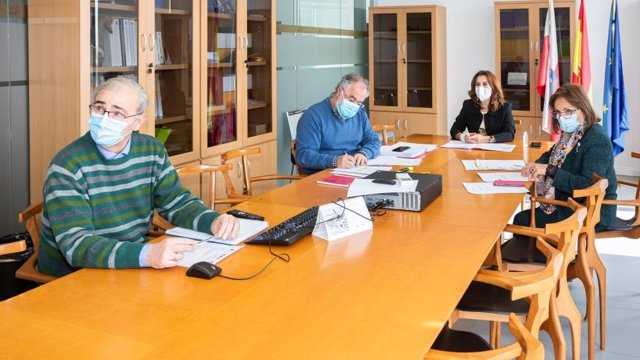 La consejera de Empleo y Políticas Sociales, Ana Belén Álvarez, y miembros de su equipo participan en la sesión telemática del Consejo Asesor de Servicios Sociales