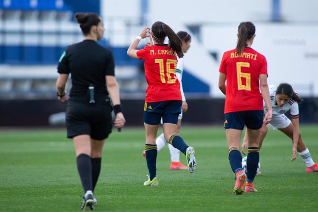Celebrate score of Marta Cardona of Spain during Friendly women match between Spain Team and Mexico Team at Municipal Marbella Stadium on April 13, 2021 in Malaga, Spain.