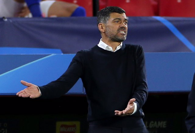 13 April 2021, Spain, Sevilla: FC Porto manager Sergio Conceicao reacts during the UEFA Champions League quarter-finals second-leg soccer match between Chelsea and FC Porto at the Ramon Sanchez-Pizjuan Stadium. Photo: Isabel Infantes/PA Wire/dpa
