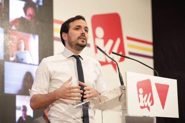 Imagen del coordinador federal de Izquierda Unida, Alberto Garzón, durante el cierre de la Asamblea que ha aprobado su reelección al frente de la organización.