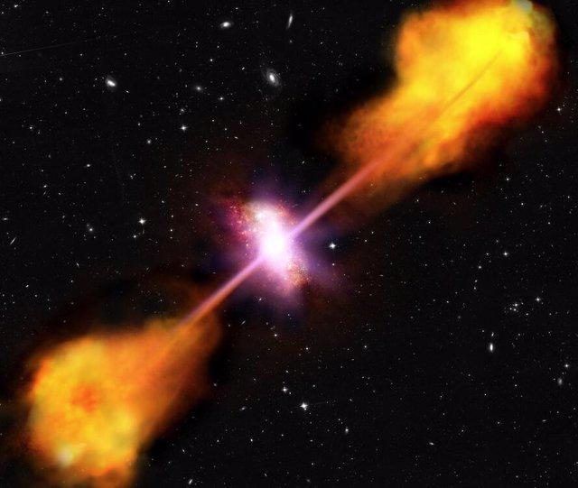 Impresión artística de una galaxia con un núcleo activo, un agujero negro supermasivo en el centro.