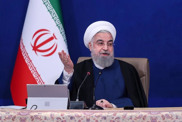 HANDOUT - 14 April 2021, Iran, Tehran: Iranian President Hassan Rouhani speaks during a weekly cabinet meeting. Photo: -/Iranian Presidency/dpa - ATTENTION: editorial use only and only if the credit mentioned above is referenced in full