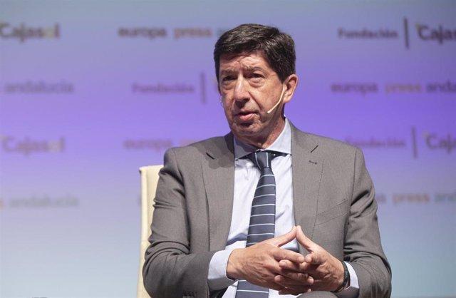 El vicepresidente de la Junta y consejero de Turismo, Juan Marín, en una imagen de 9 de abril de los encuentros informativos de Europa Press Andalucía.