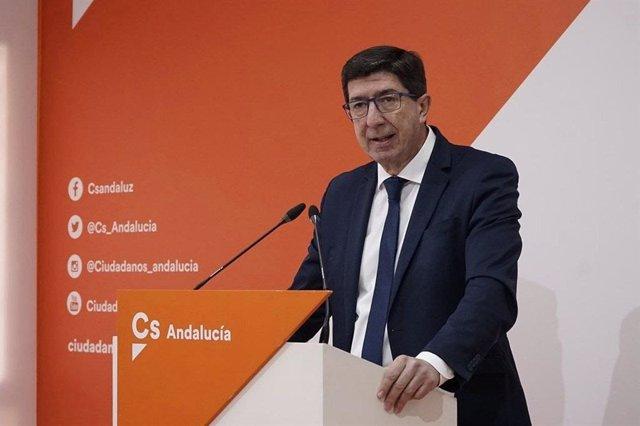Archivo - El coordinador de Ciudadanos (Cs) en Andalucía y vicepresidente de la Junta de Andalucía, Juan Marín.