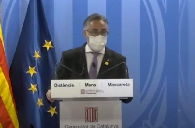 El conseller de Empresa y Conocimiento de la Generalitat, Ramon Tremosa, este miércoles en una rueda de prensa telemática