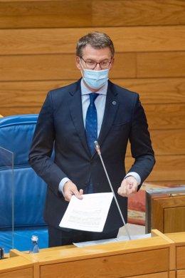 Archivo - Feijóo en el Parlamento.