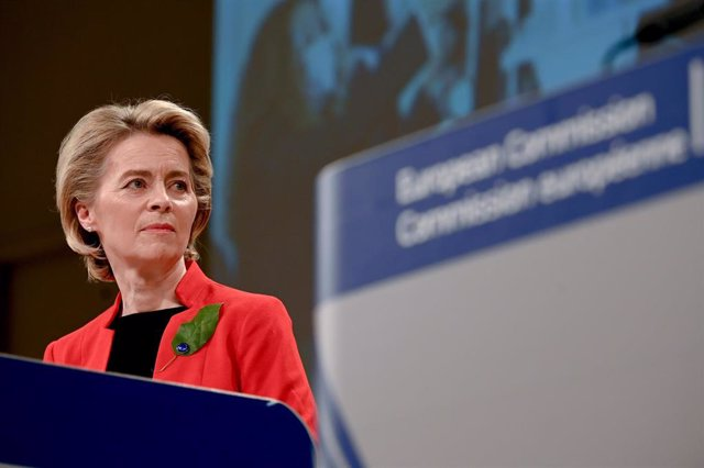 HANDOUT - 17 March 2021, Belgium, Brussels: European Commission President Ursula von der Leyen speaks during a press conference on the Commission's response to COVID-19 and the EU new vaccine certificate. The European Commission on Wednesday proposed the