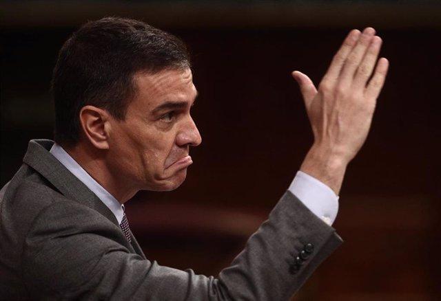 El presidente del Gobierno, Pedro Sánchez,en el Congreso