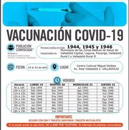 Cartel sobre la vacunación en la capital vallisoletana la próxima semana.