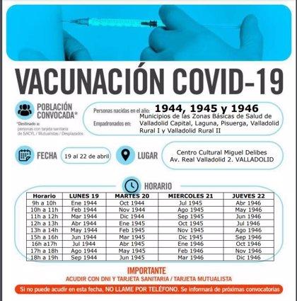 Valladolid vacuna desde el lunes a los nacidos entre 1944 y 1946 y en siete pueblos a los de 1942 a 1951