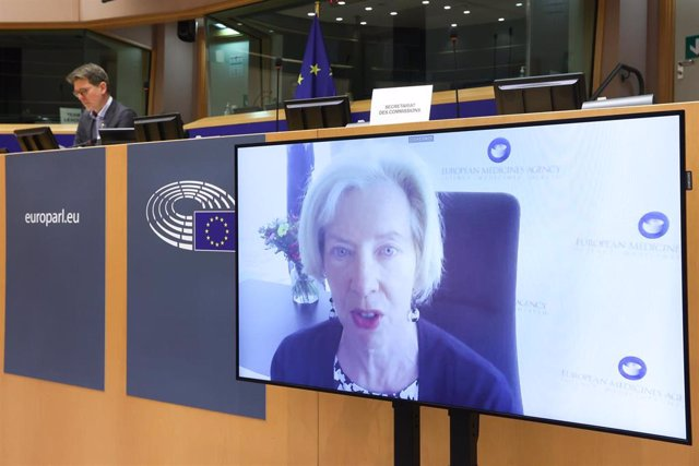HANDOUT - 23 March 2021, Belgium, Brussels: Executive Director of the European Medicines Agency Emer Cooke (on screens) speaks during a video hearing by European Parliament Committee on the Environment, Public Health and Food Safety on the update of evalu