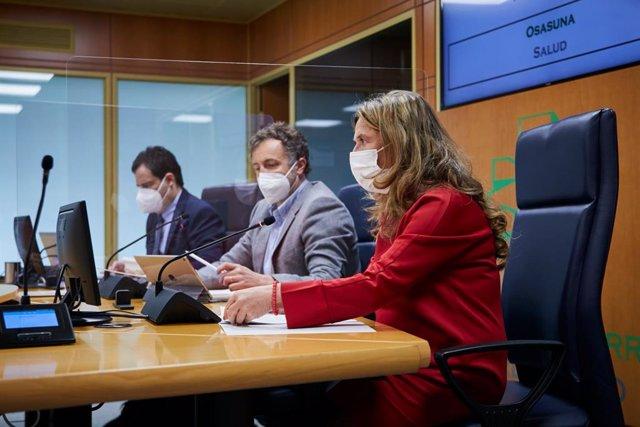 La consejera de Salud, Gotzone Sagadui,  en su comparecencia semanal en Vitoria ante la Comisión de Salud del Parlamento Vasco