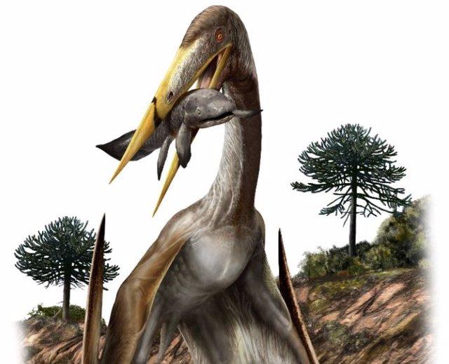 Esta ilustración muestra la interpretación de un artista de un pterosaurio (Alanqa saharica).