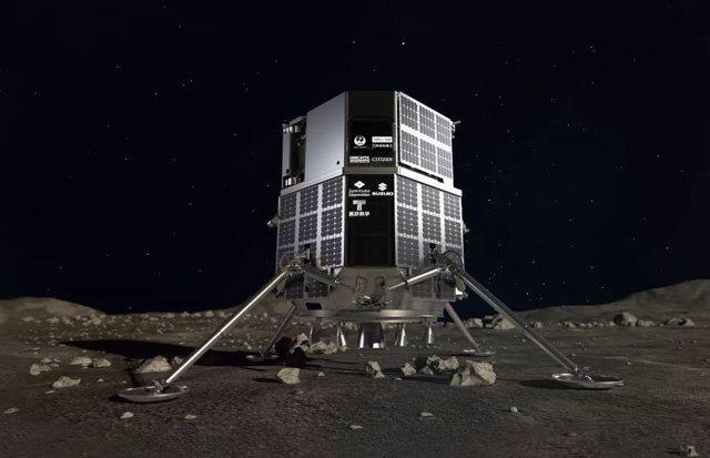 Representación de un artista del módulo de aterrizaje HAKUTO-R de ispace en la superficie de la luna.