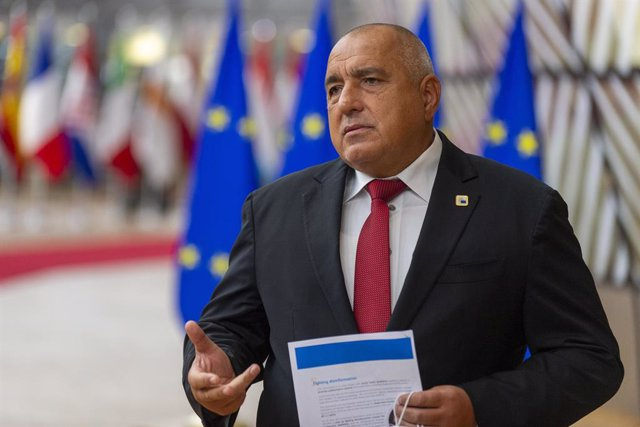 Archivo - FILED - 16 October 2020, Belgium, Brussels: Bulgaria's Prime Minister Boyko Borissov speaks to media as he arrives for a European Council summit. Photo: -/European Council/dpa - ATTENTION: editorial use only and only if the credit mentioned abov