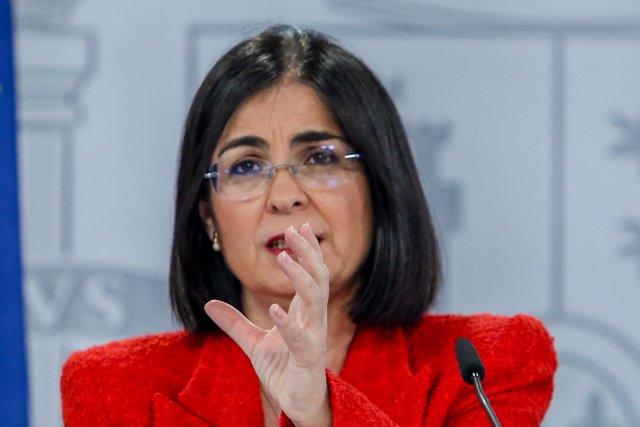 La ministra de Sanidad, Carolina Darias, durante una rueda de prensa tras la reunión del Consejo Interterritorial del Sistema Nacional de Salud, a 14 de abril de 2021, en Madrid
