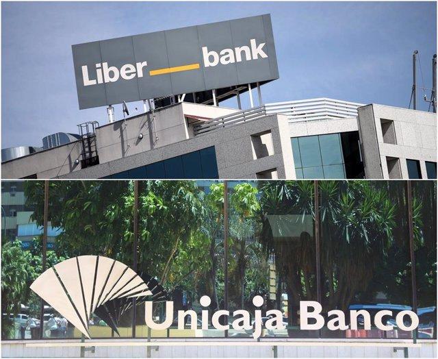 Archivo - Montaje con sedes de Liberbank y Unicaja Banco.