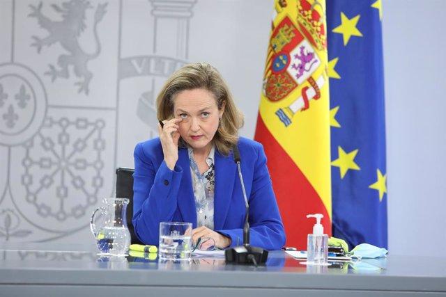 Archivo - Arxiu - La vicepresidenta segona i ministra d'Afers Econòmics i Transformació Digital, Nadia Calviño.