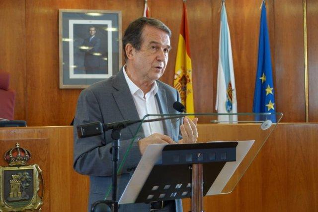El alcalde de Vigo, Abel Caballero, en la rueda de prensa de este martes