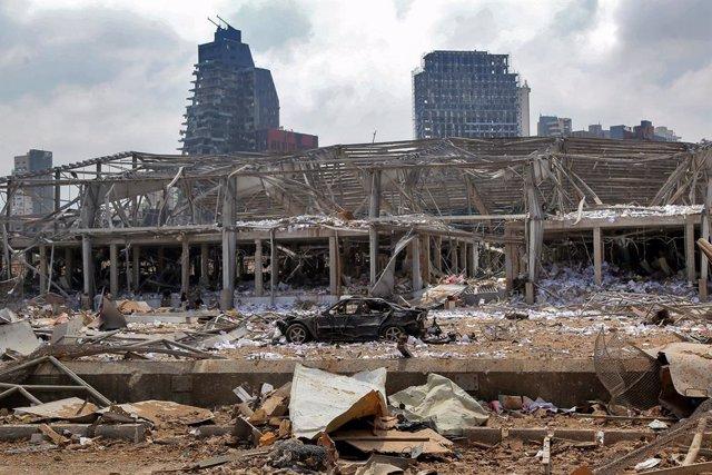 Archivo - Daños causados por las explosiones en el puerto de la capital de Líbano, Beirut