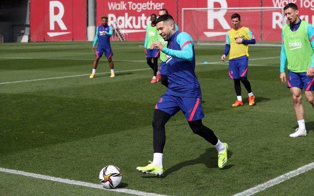 Entrenamiento del FC Barcelona, en la Ciutat Esportiva Joan Gamper, previo a la final de la Copa del Rey 2020/21