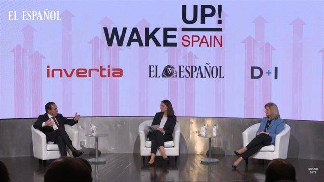 Presidente de Mapfre, Antonio Huertas (Izquierda) y presidenta Fundación CEOE, Fátima Báñez (Derecha) en 'Wake Up, Spain!'