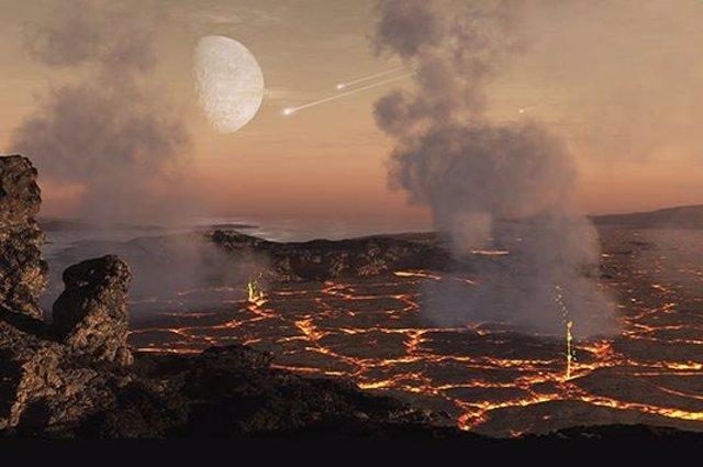 Se cree que las atmósferas tempranas de los planetas rocosos se forman principalmente a partir de gases liberados de la superficie del planeta como resultado del intenso calentamiento durante la acumulación de bloques de construcción planetarios