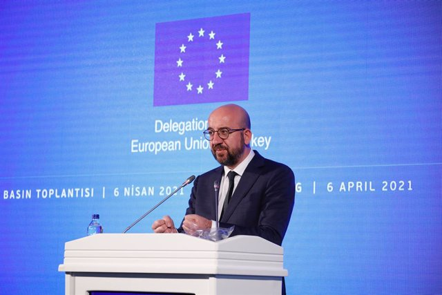 HANDOUT - 06 April 2021, Turkey, Ankara: European Council President Charles Michel speaks during a joint press conference with European Commission President Ursula Von der Leyen (not pictured) after their meeting with the Turkish President Recep Tayyip Er
