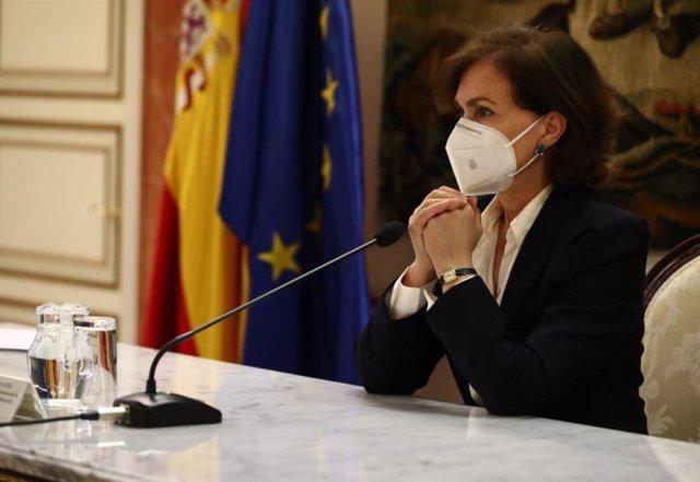 La vicepresidenta primera y ministra de la Presidencia, Relaciones con las Cortes y Memoria Democrática, Carmen Calvo