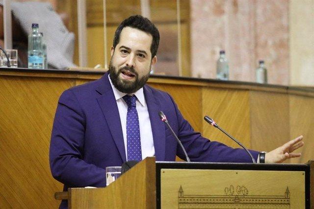 El portavoz adjunto de Ciudadanos, Fran Carillo, este jueves en el Pleno del Parlamento.