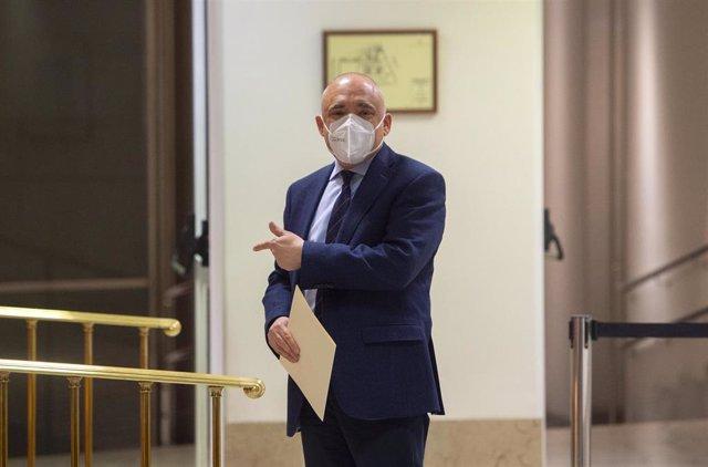 El secretario general del Grupo Socialista en el Congreso, Rafael Simancas, al inicio de una Junta de Portavoces en el Congreso de los Diputados, a 6 de abril de 2021en Madrid (España).
