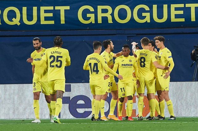 Villarreal players celebrates a goal during the Uefa Europa League quarter final match between Villarreal CF and GNK Dinamo Zagreb, at Estadio de la Ceramica on 15 April, 2021 in Vila-real, Spain