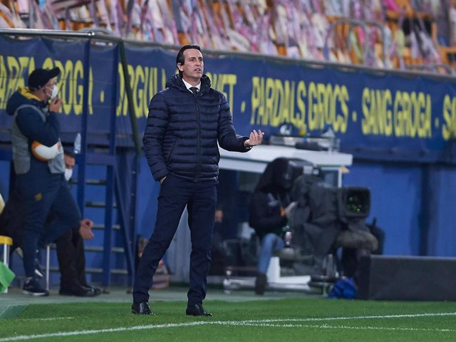 Unai Emery head coach of Villarreal CF during the Uefa Europa League of 16 Second Leg match between Villarreal CF v Dynamo Kyiv at Estadio de la Ceramica on 18 March, 2021 in Vila-real, Spain