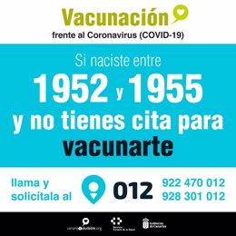 Campaña de vacunación frente al Covid-19 en Canarias para los nacidos entre 1952 y 1955