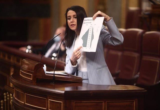 La presidenta de Cs, Inés Arrimadas, en una imagen del 14 de abril durante la presentación del Plan de Recuperación, Transformación y Resiliencia.