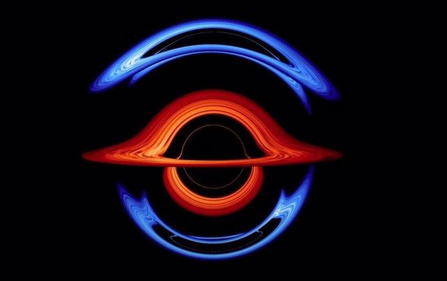 Escena de la visualización de la interacción entre agujeros negros binarios